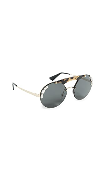 Prada Ornate Crystal Round Sunglasses at Shopbop