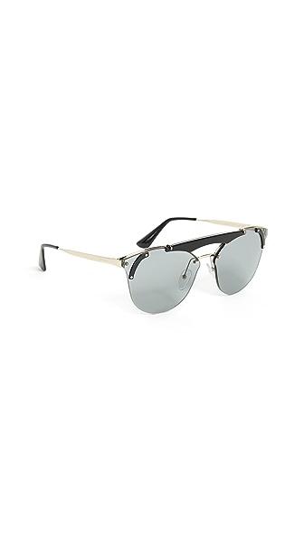 Prada Ornate Aviator Sunglasses In Pale Gold Black/Grey