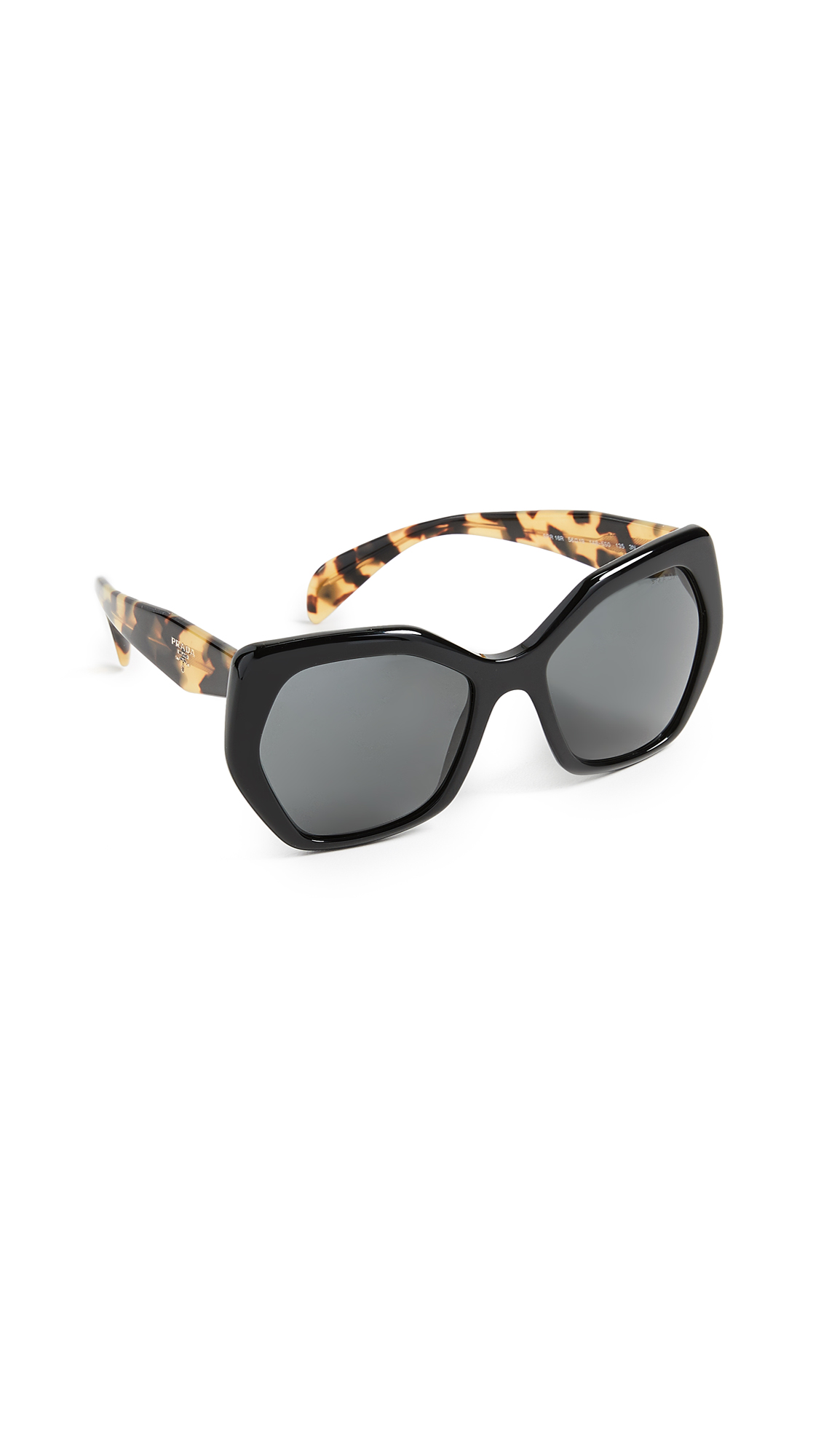 Prada Oversized Geometric Sunglasses In Black/Grey