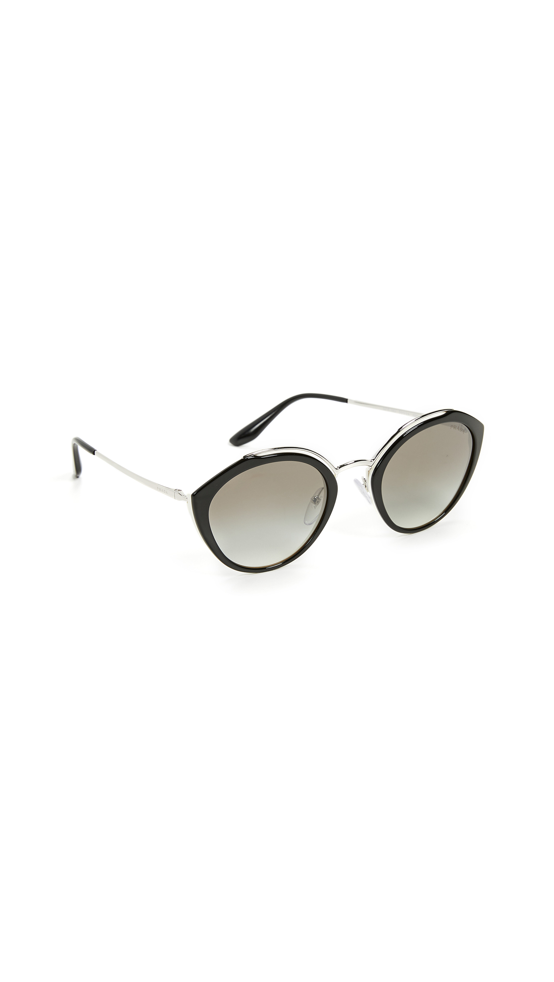 Prada Oval Sunglasses In Silver/Grey