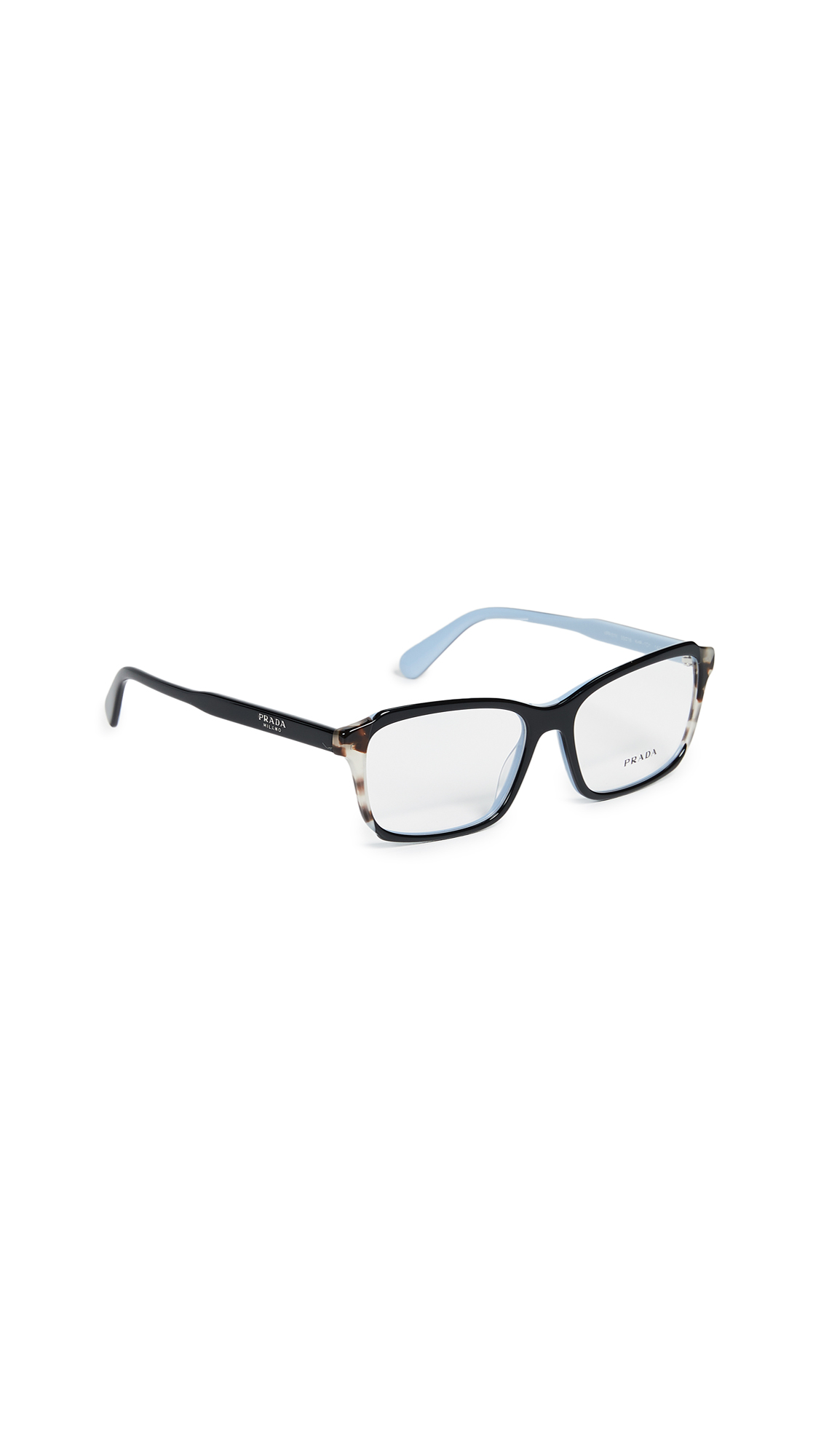 1cd4ac86f14 Prada Rectangle Glasses In Black Brown Clear