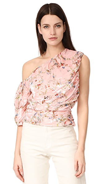 Preen By Thornton Bregazzi One Shoulder Scarlet Top - Flower Ring Pink