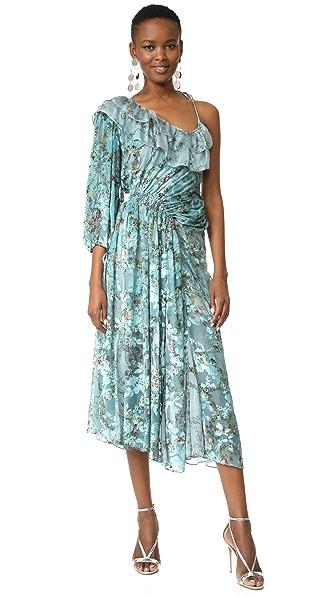Preen By Thornton Bregazzi William One Shoulder Dress - Flower Ring Blue