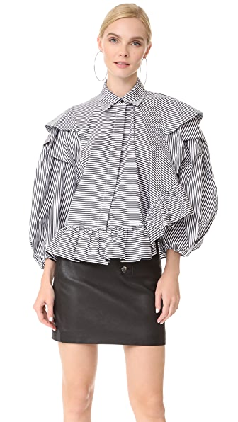 Preen By Thornton Bregazzi Sinead Shirt - Black/White Stripe