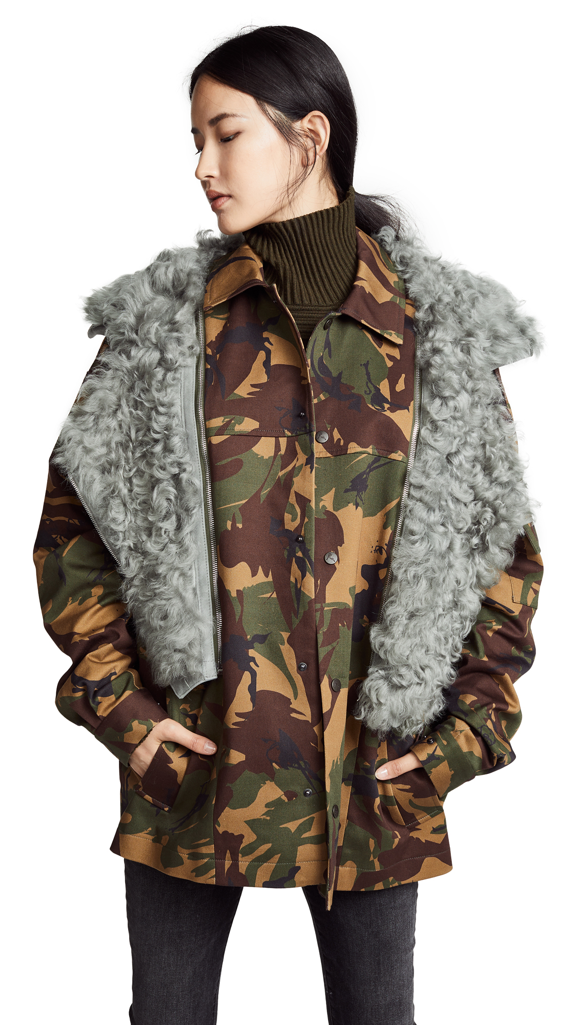 Dree Shearling Collar Camouflage Cotton Blend Jacket in White