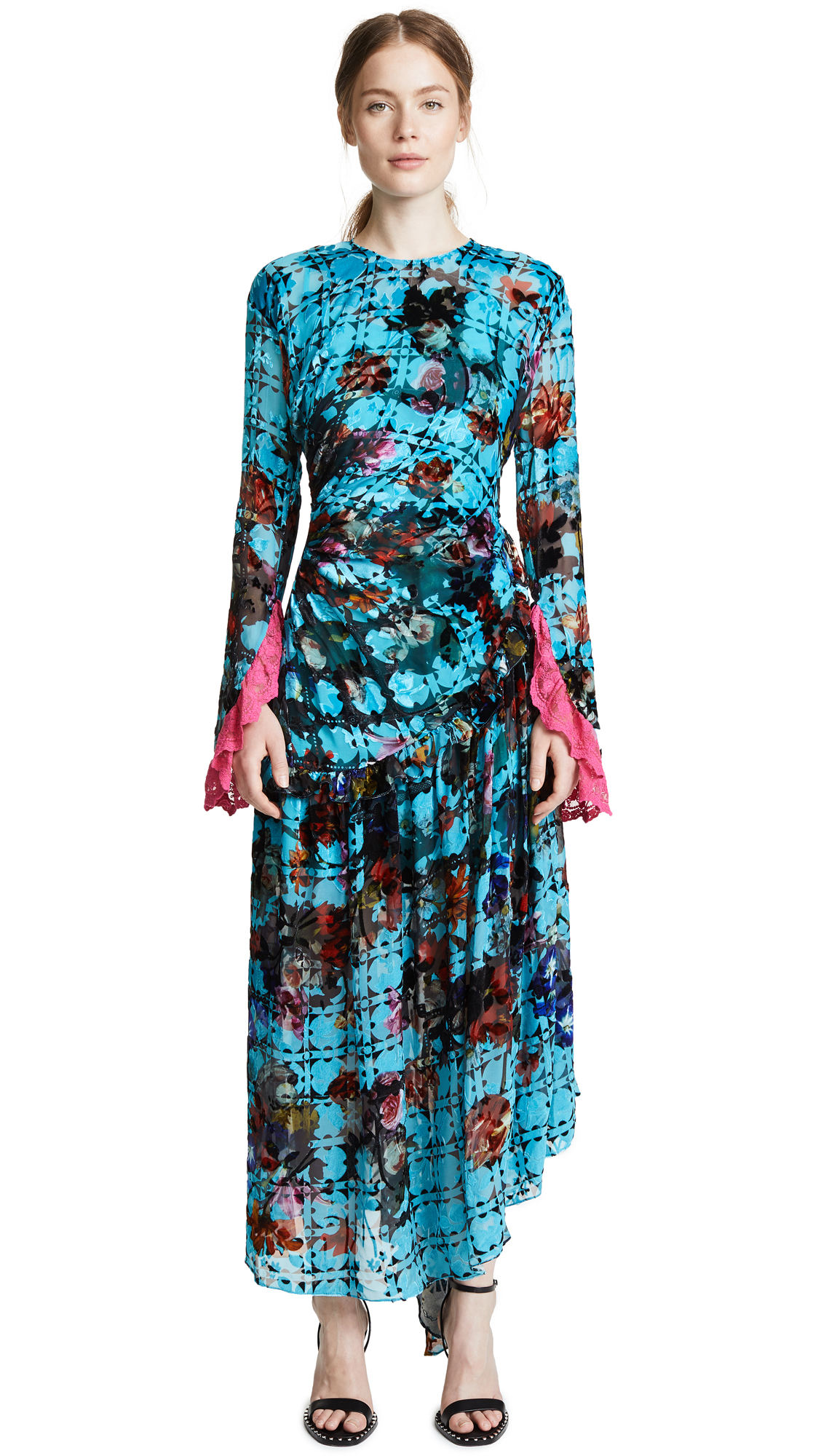 Preen By Thornton Bregazzi Iris Dress In Turquoise Flower