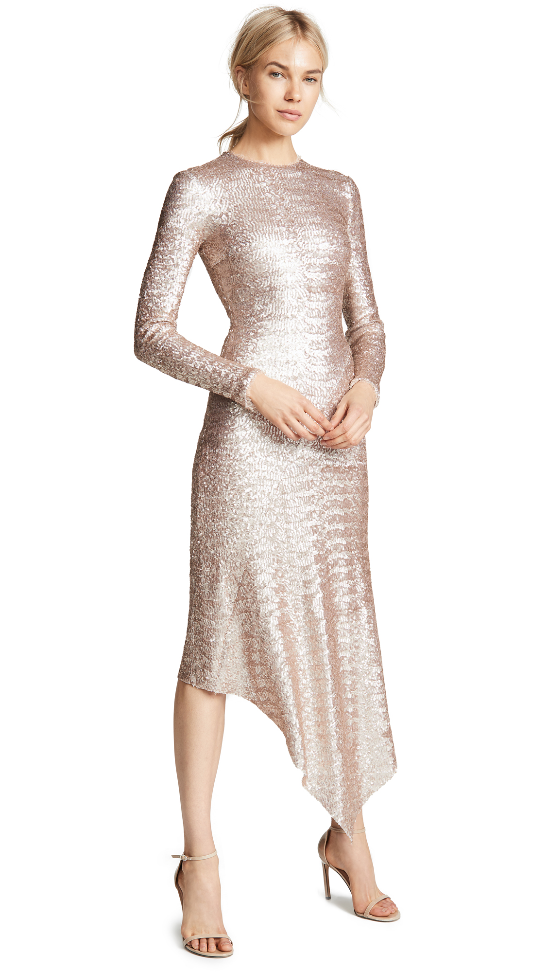 Preen By Thornton Bregazzi Clarissa Sequin Dress In Oyster
