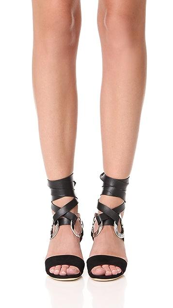 Proenza Schouler Block Heel Lace Up Sandals