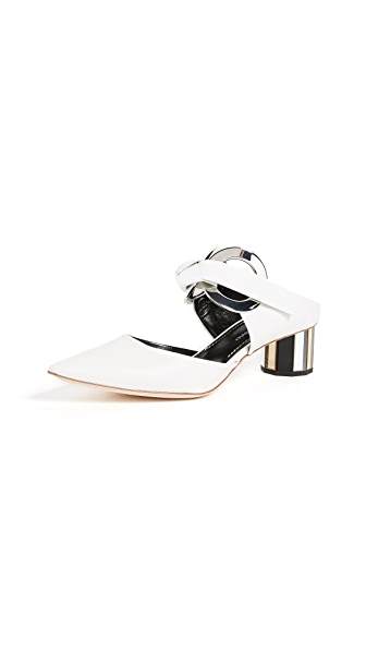 Proenza Schouler Grommet Block Heel Pumps In White