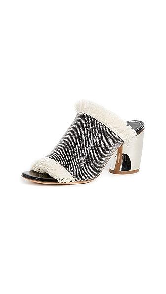 Proenza Schouler Mule Sandals In Rafia/Black