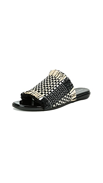 Woven Leather And Bast Slides in Black
