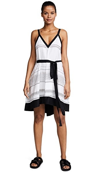 Proenza Schouler Striped Cover Up Dress In Black/White