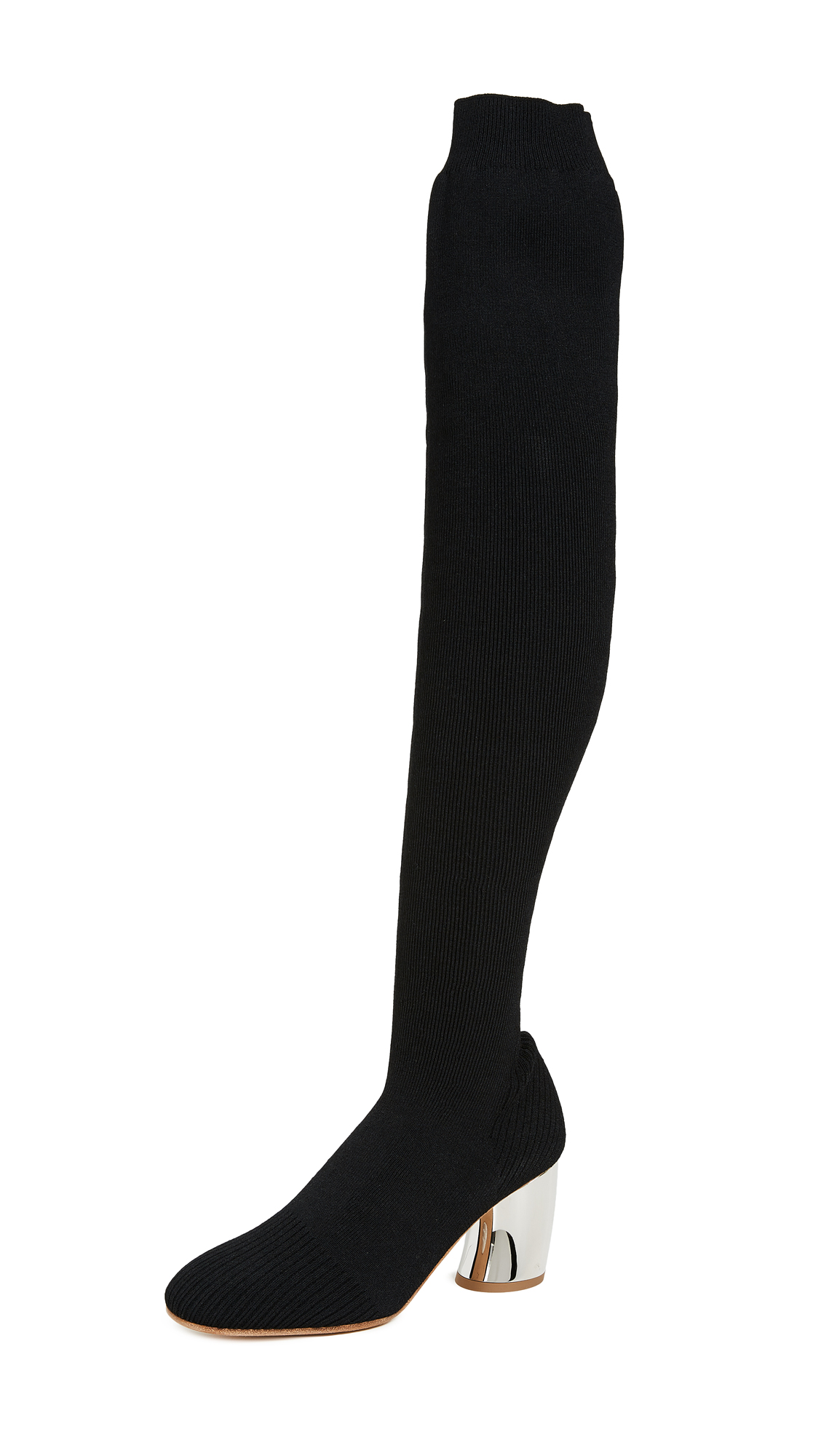 Proenza Schouler Knit Thigh High Boots - Black