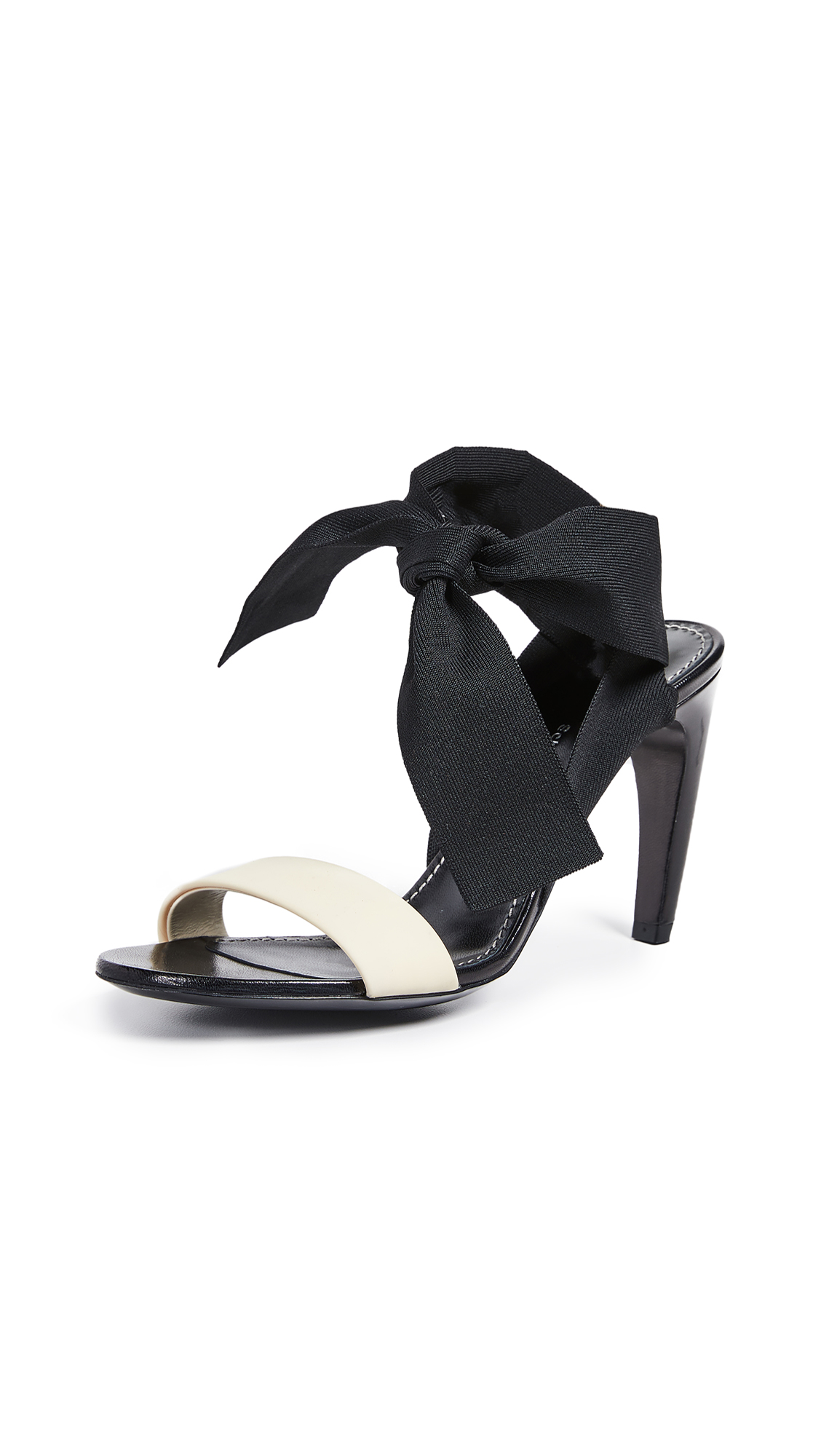 Proenza Schouler Knit Strap Sandals - Black/Cream