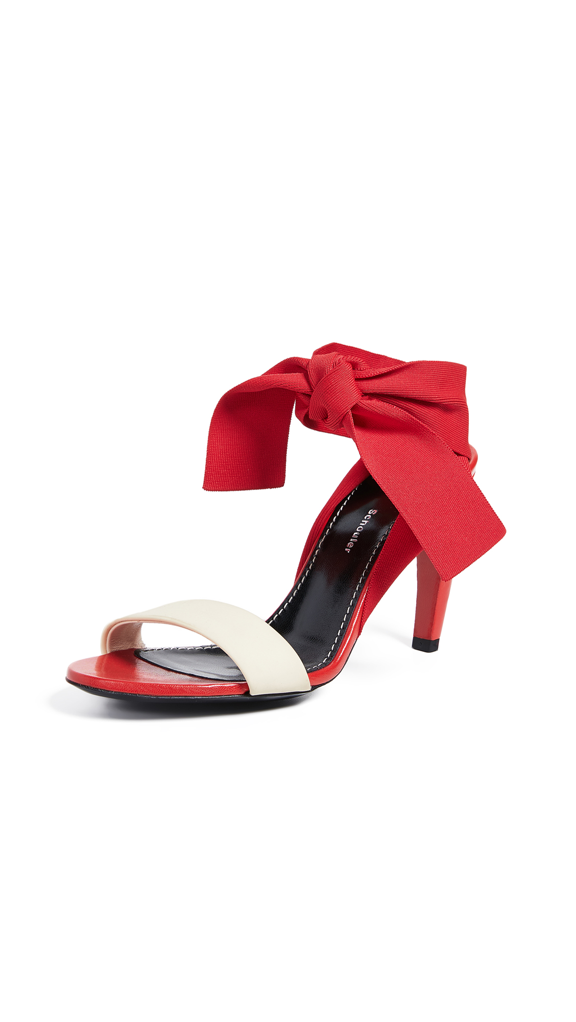 Proenza Schouler Knit Strap Sandals - Red/Cream