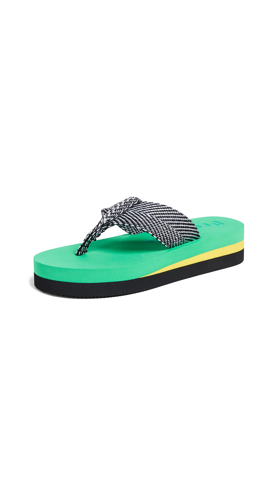 Proenza Schouler Chevron Flip Flops - Green/Yellow/Black