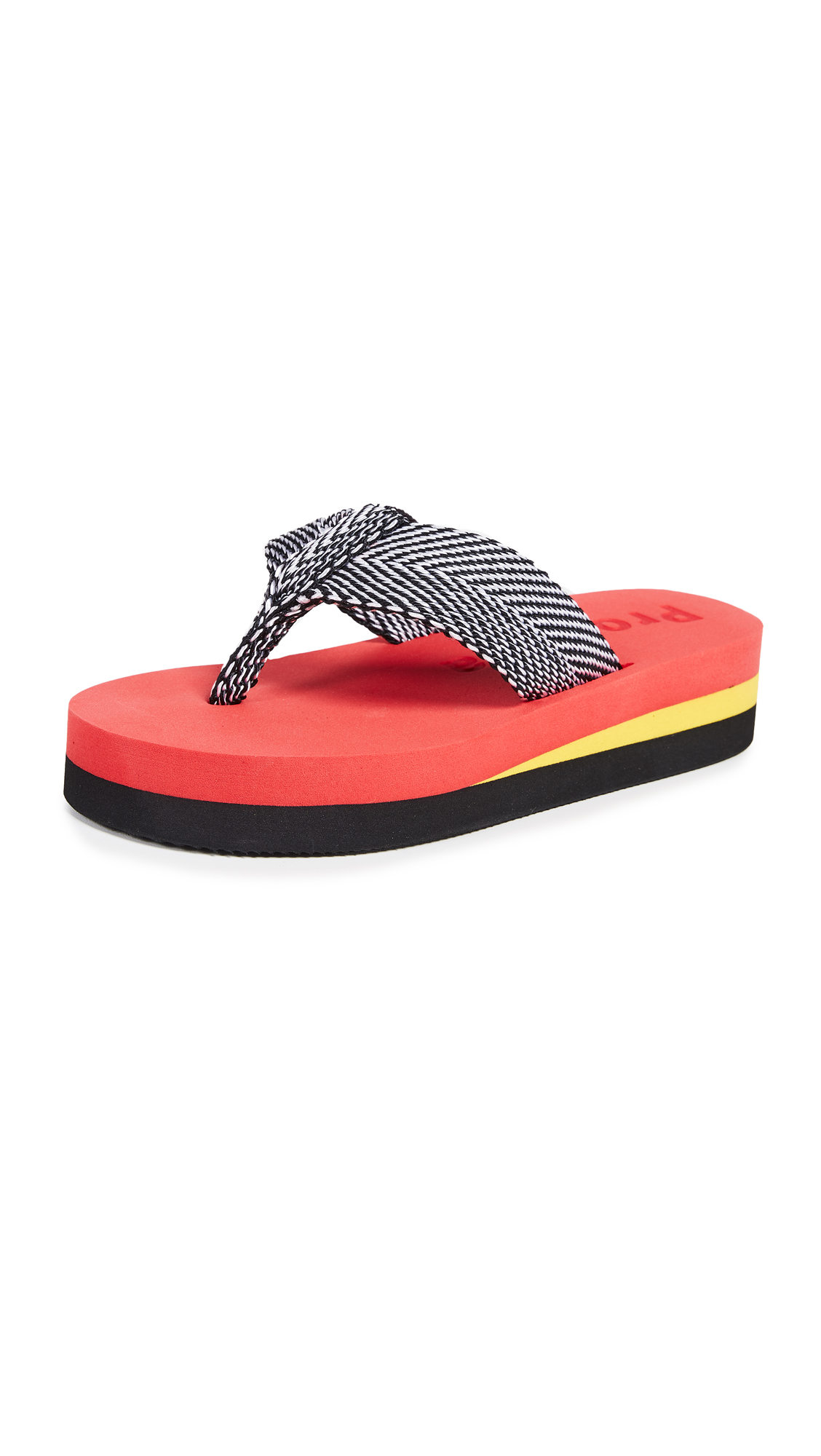 Proenza Schouler Chevron Flip Flops - Red/Yellow/Black
