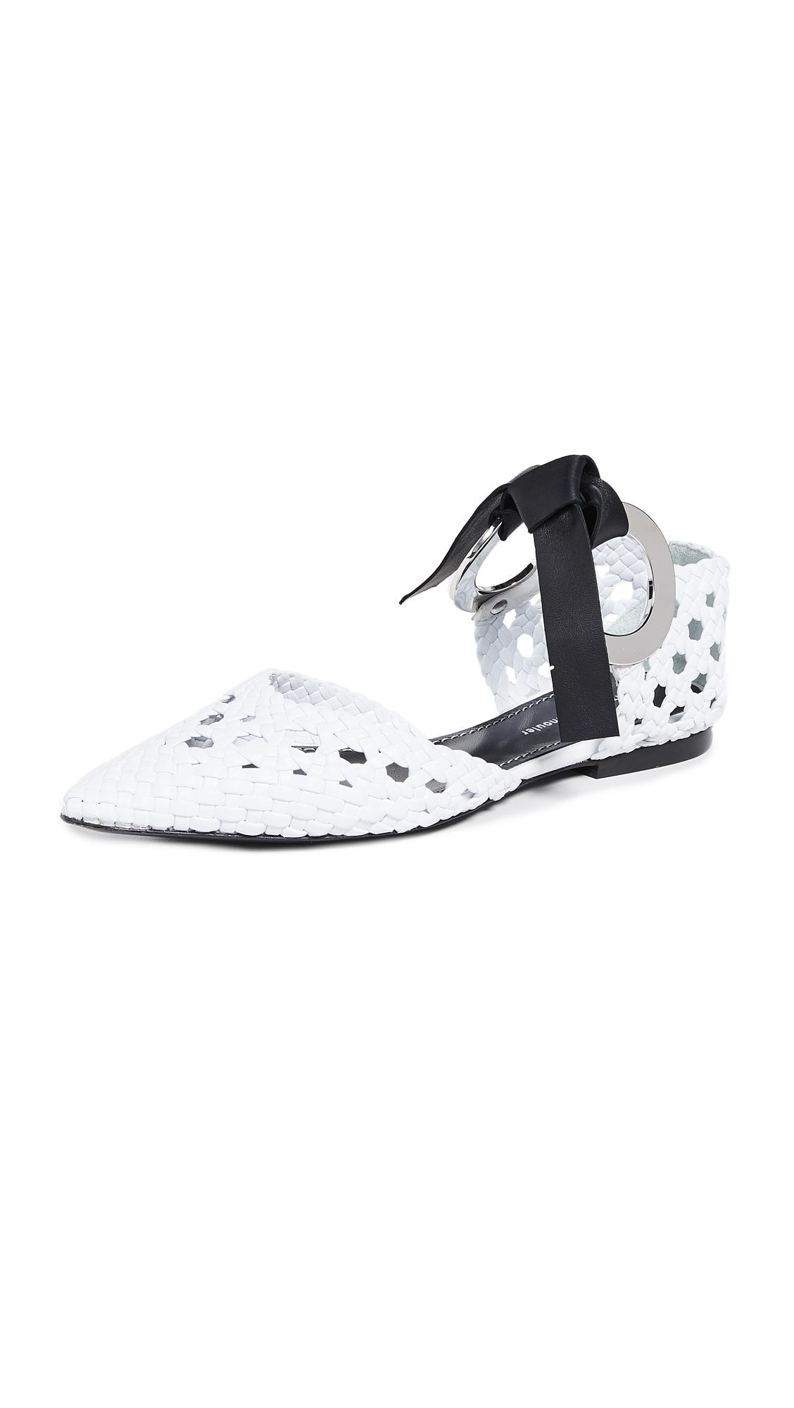 Proenza Schouler Tie Woven Flats - White/Black