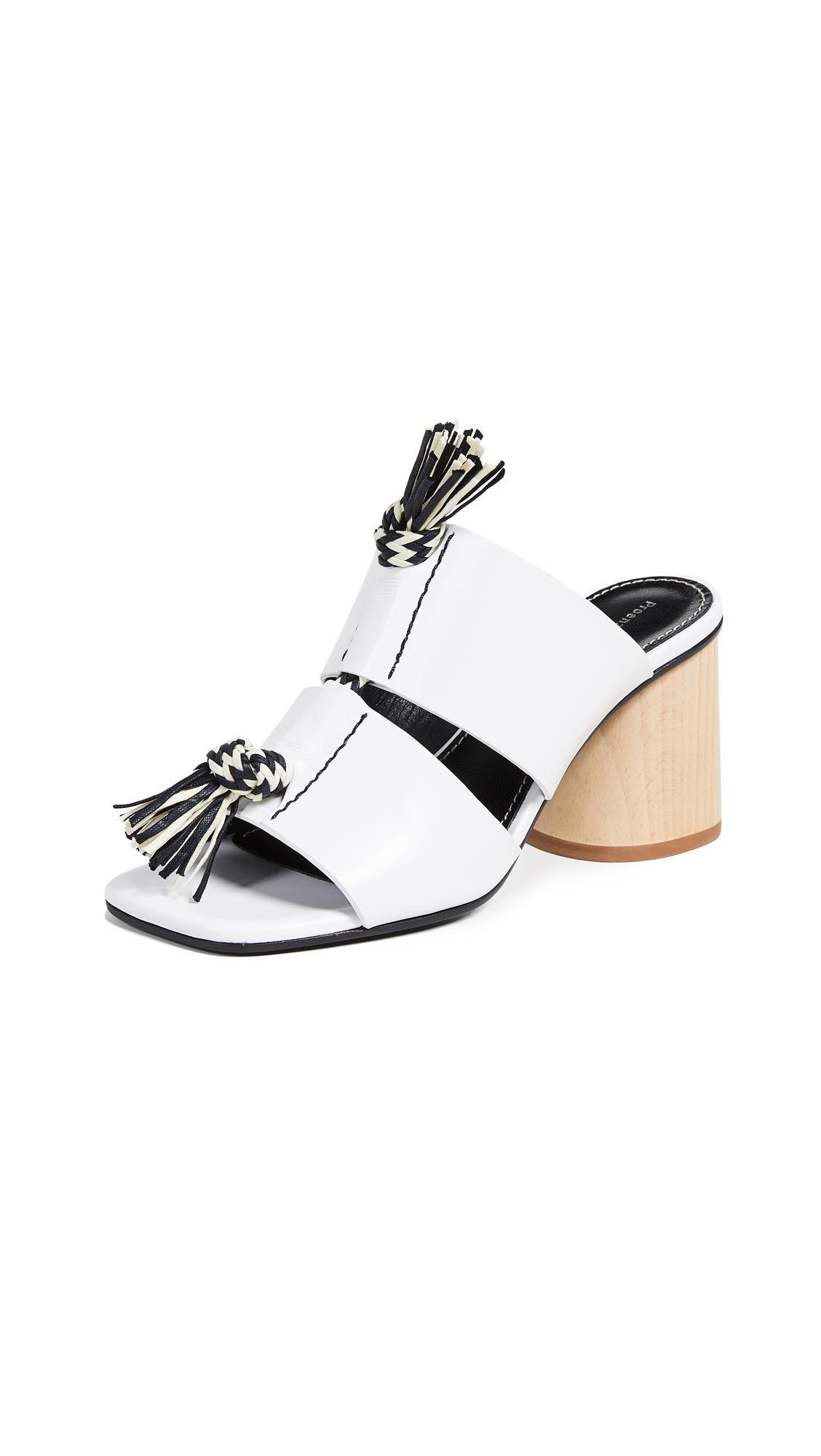 Leather Mules With Rope Detail in White/White/Black