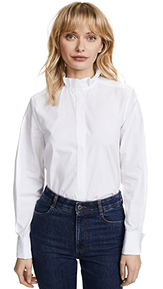 Protagonist Pleated Collar Shirt In White