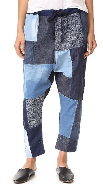 PRPS Patchwork Jogger Pants - Indigo