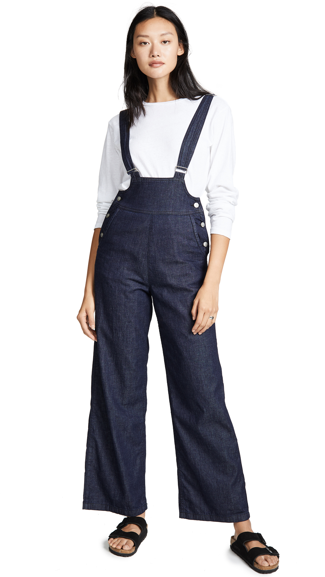 PRPS Wide Leg Bib Trousers In Dark Blue