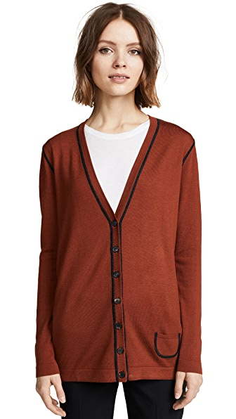 Pringle of Scotland Wool Contrast Stitch Cardigan