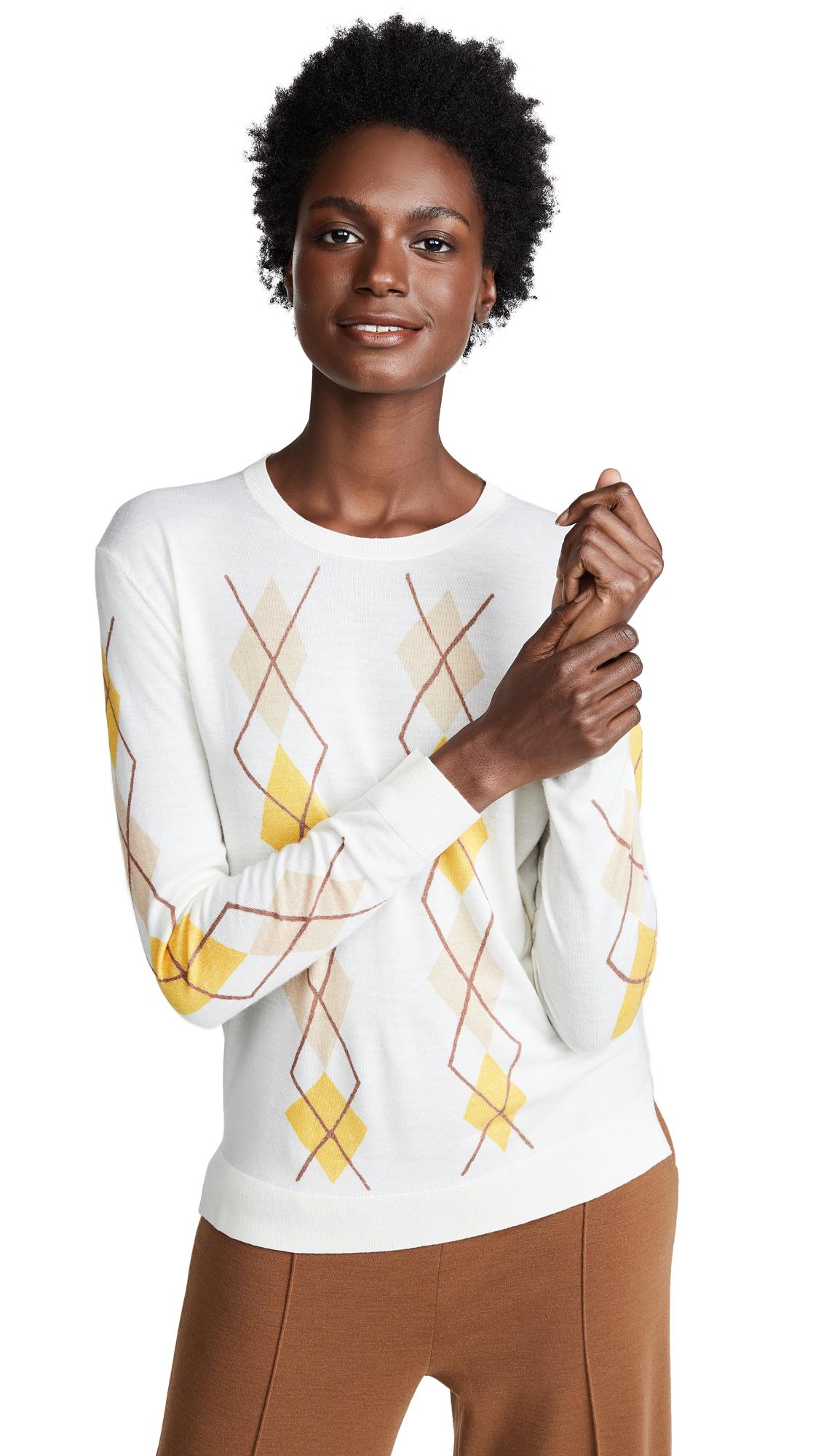 Pringle of Scotland Merino Wool Argyle Sweater In Off White Multi