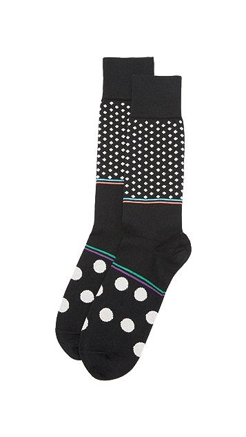 Paul Smith Ecru Polka Block Socks