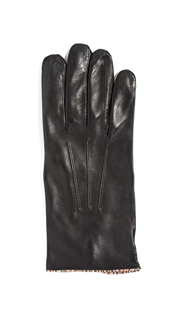 Paul Smith Striped Piping Leather Gloves
