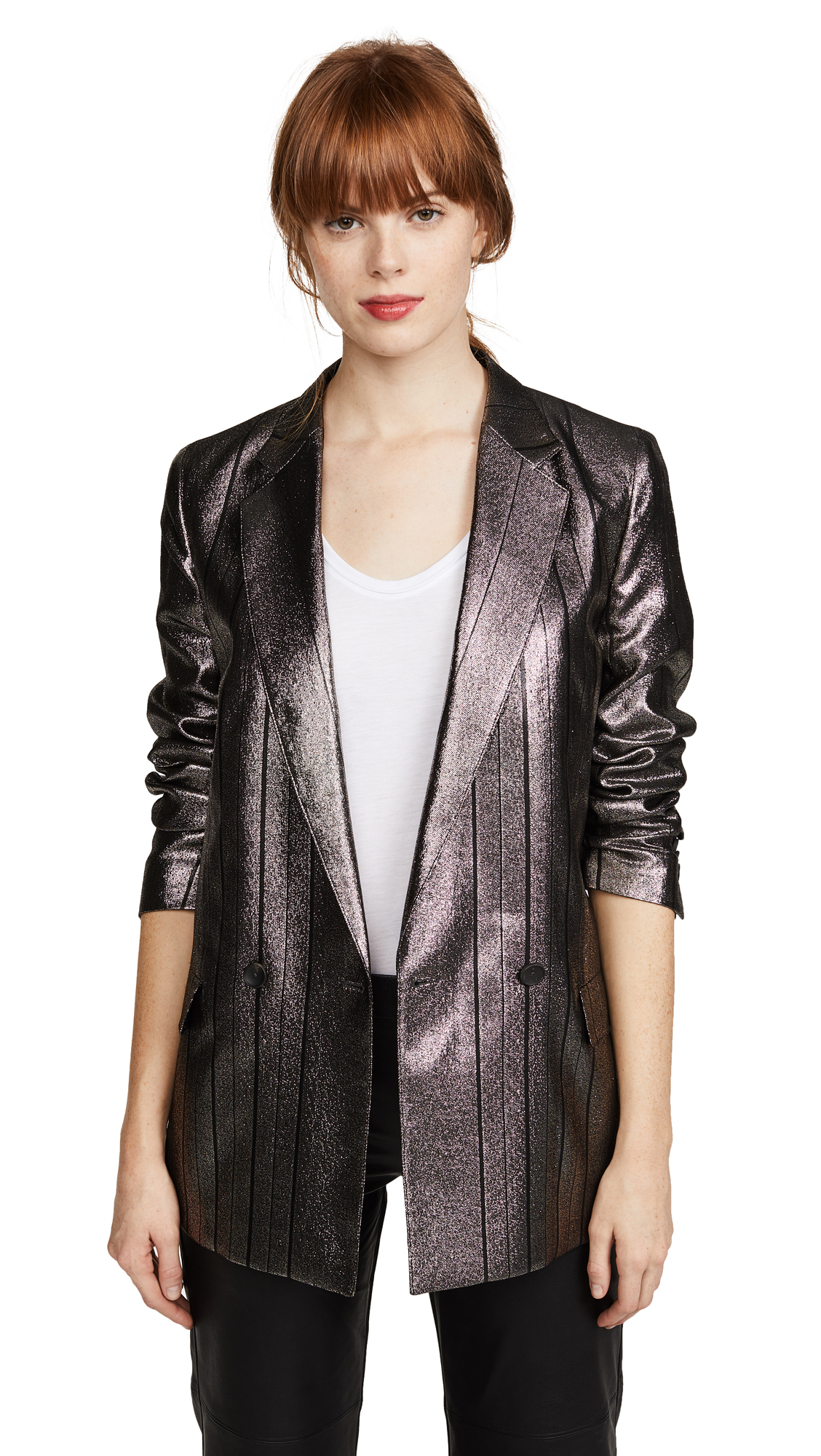 Paul Smith Metallic Blazer In Silver