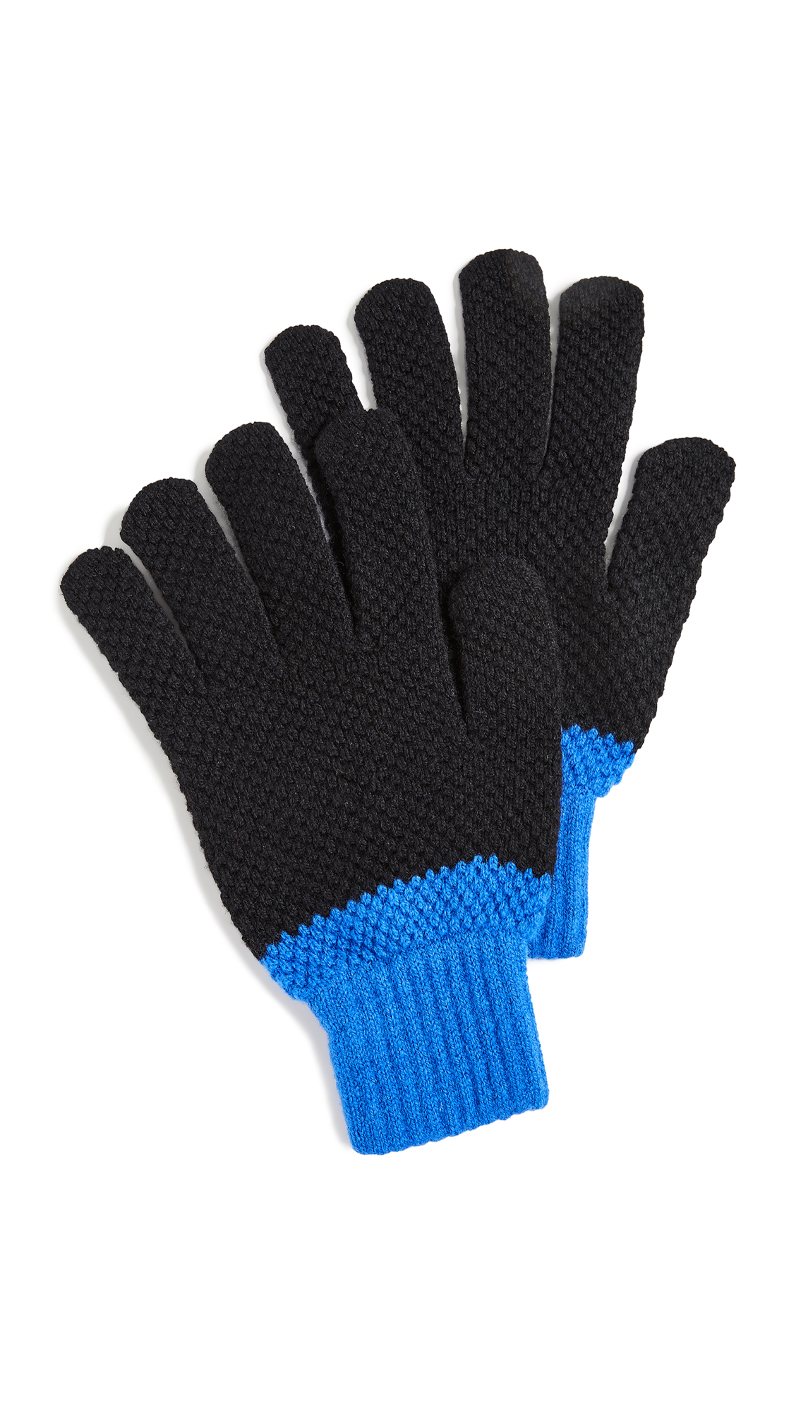 PAUL SMITH Cable Highlight Gloves in Black/Blue