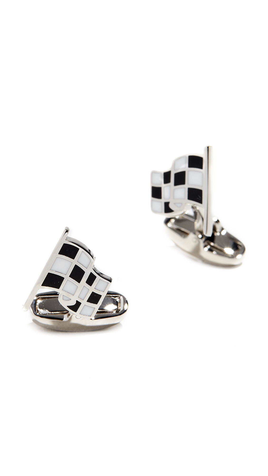 PAUL SMITH Checked Flag Silver-Tone And Enamel Cufflinks in Black/White