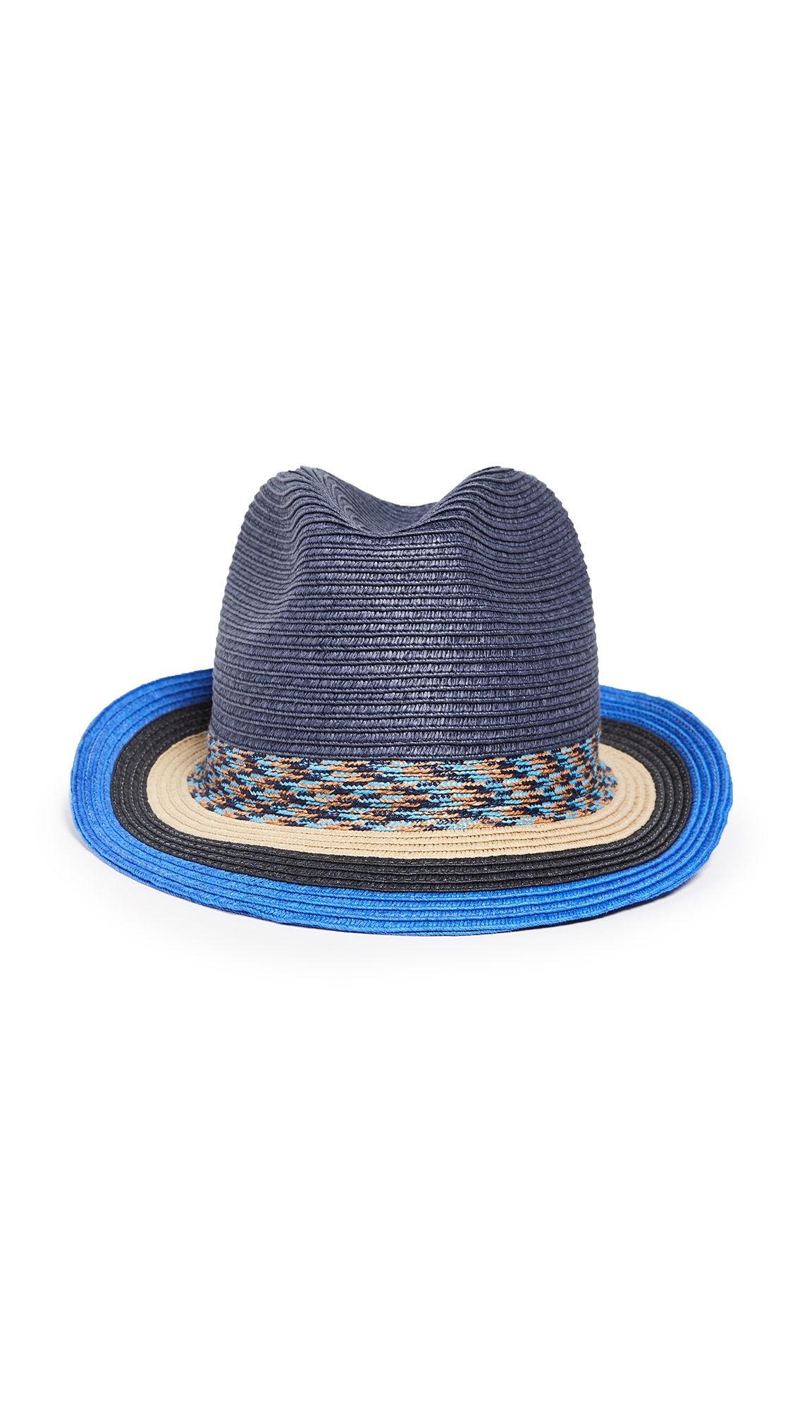 807c7521c4764 Paul Smith Men s Striped-Brim Straw Fedora Hat In Blue Multi