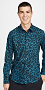 Paul Smith Long Sleeve Leopard Print Slim Fit Shirt