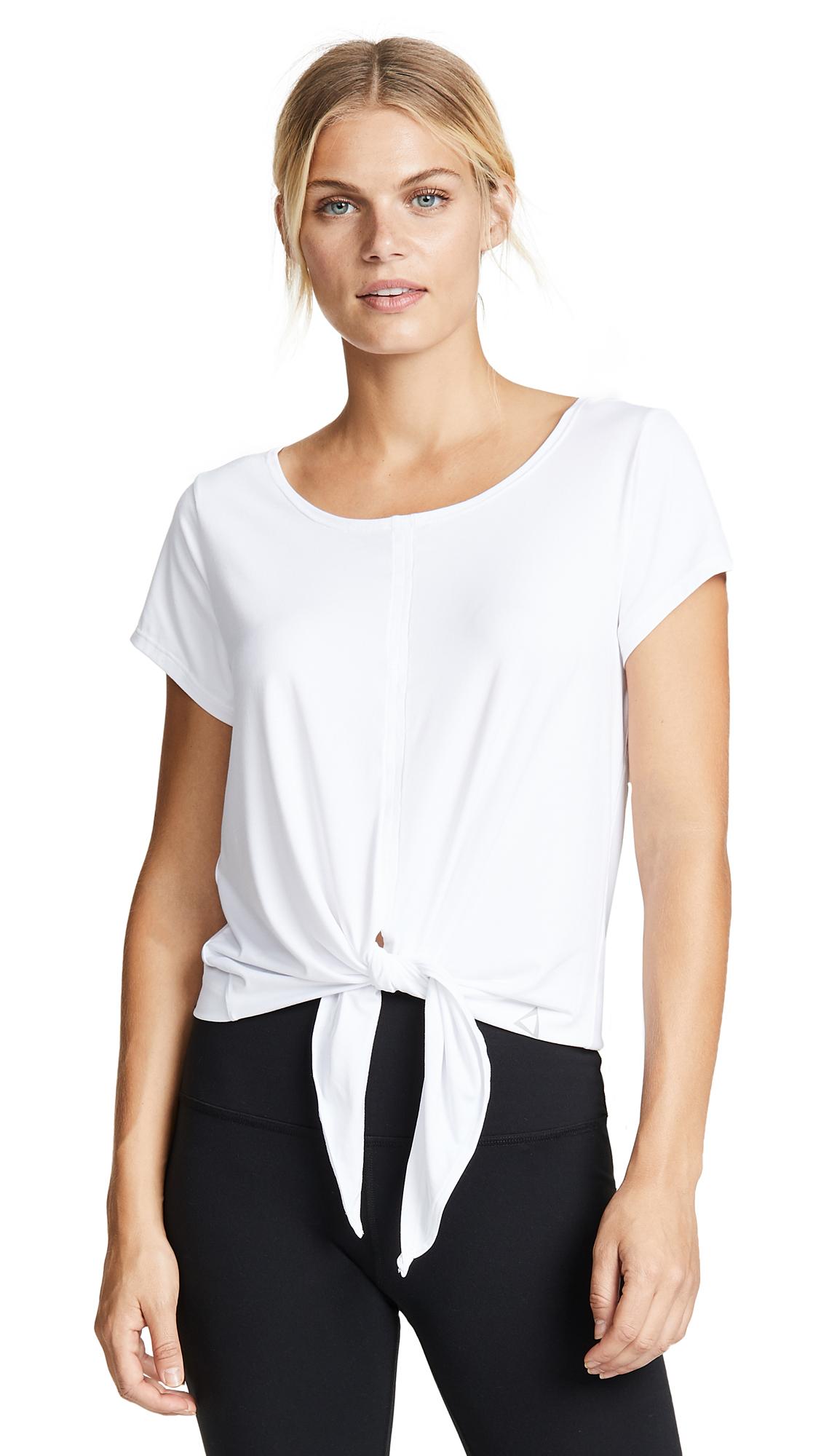 PRISMSPORT Short Sleeve Front Tie Top in White