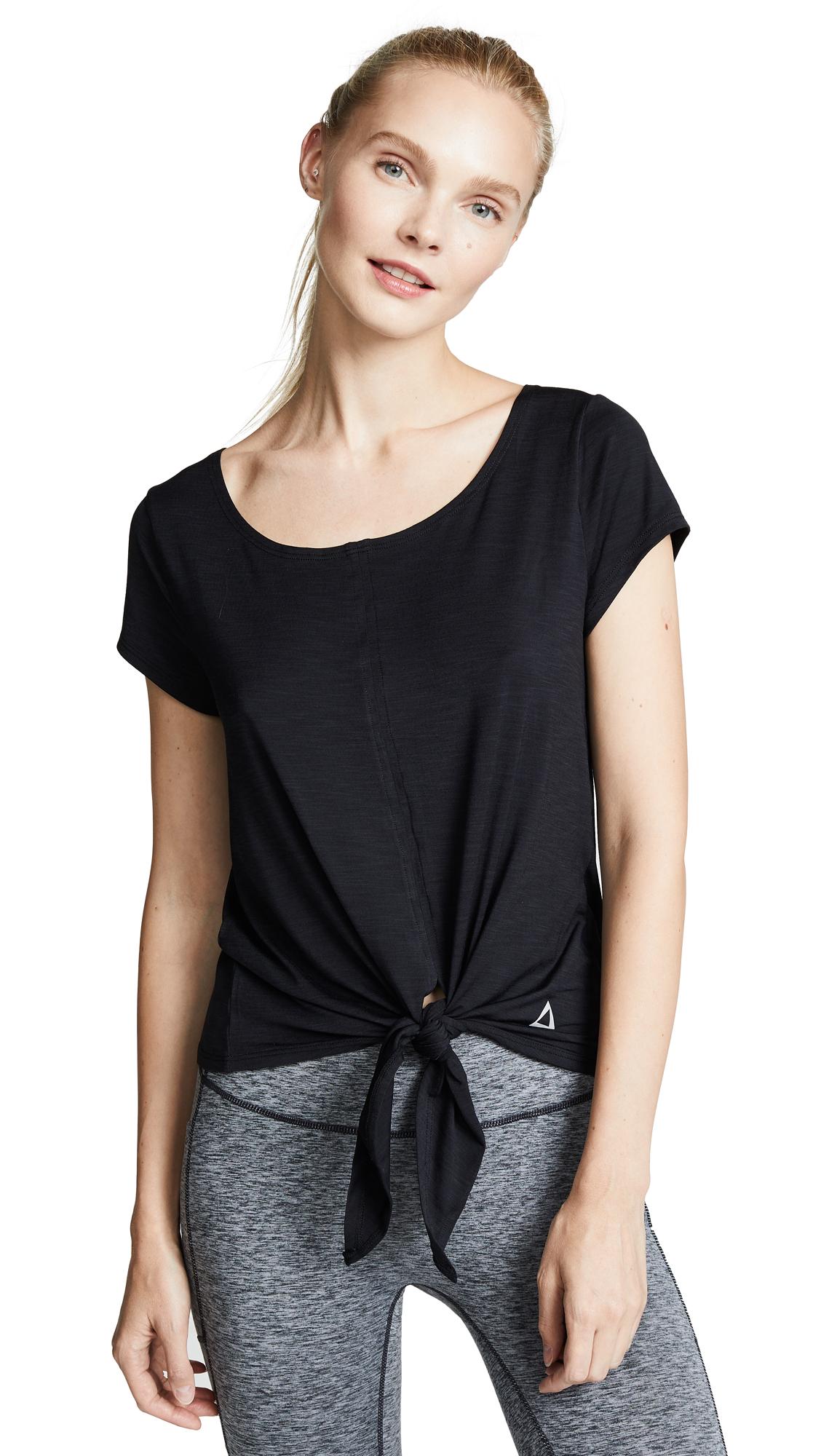 PRISMSPORT Short Sleeve Front Tie Top in Black