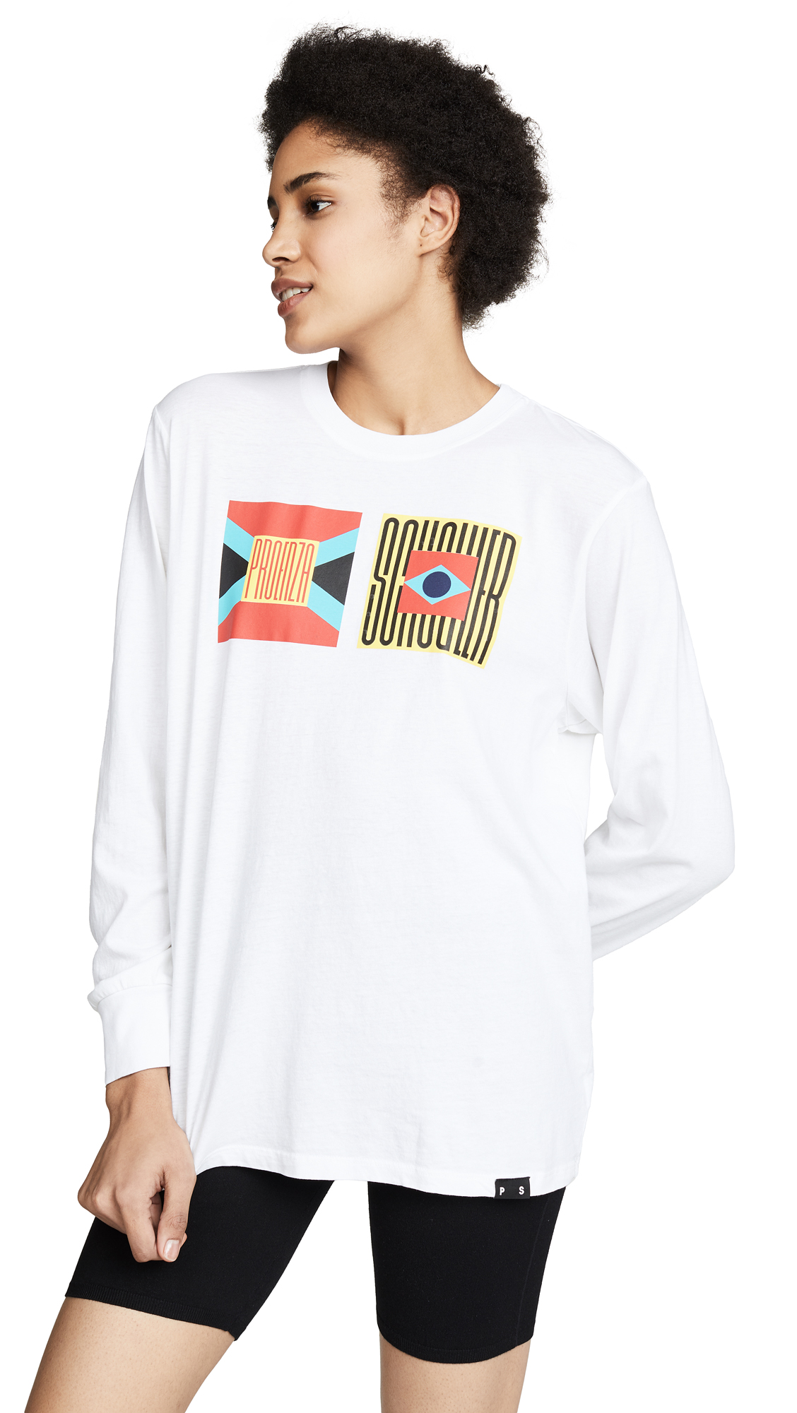 Proenza Schouler PSWL Flag Long Sleeve Tee - Yellow/Red Multi Flag
