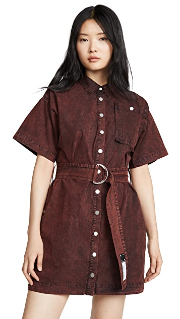 Proenza Schouler PSWL Short Sleeve Belted Dress