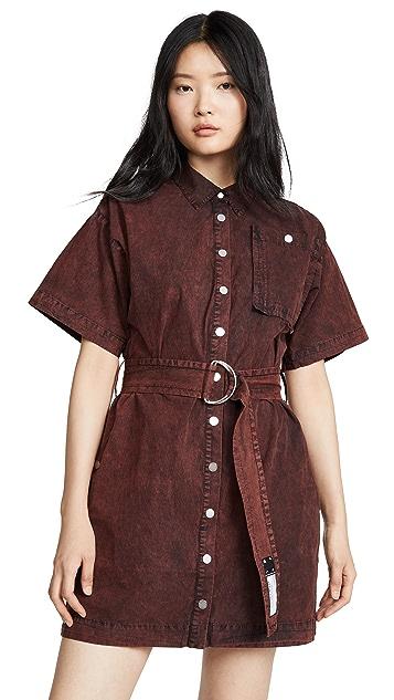 Photo of  Proenza Schouler PSWL Short Sleeve Belted Dress - shop Proenza Schouler PSWL dresses online sales