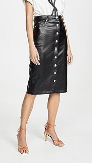 Proenza Schouler White Label Faux Leather Button Front Midi Skirt