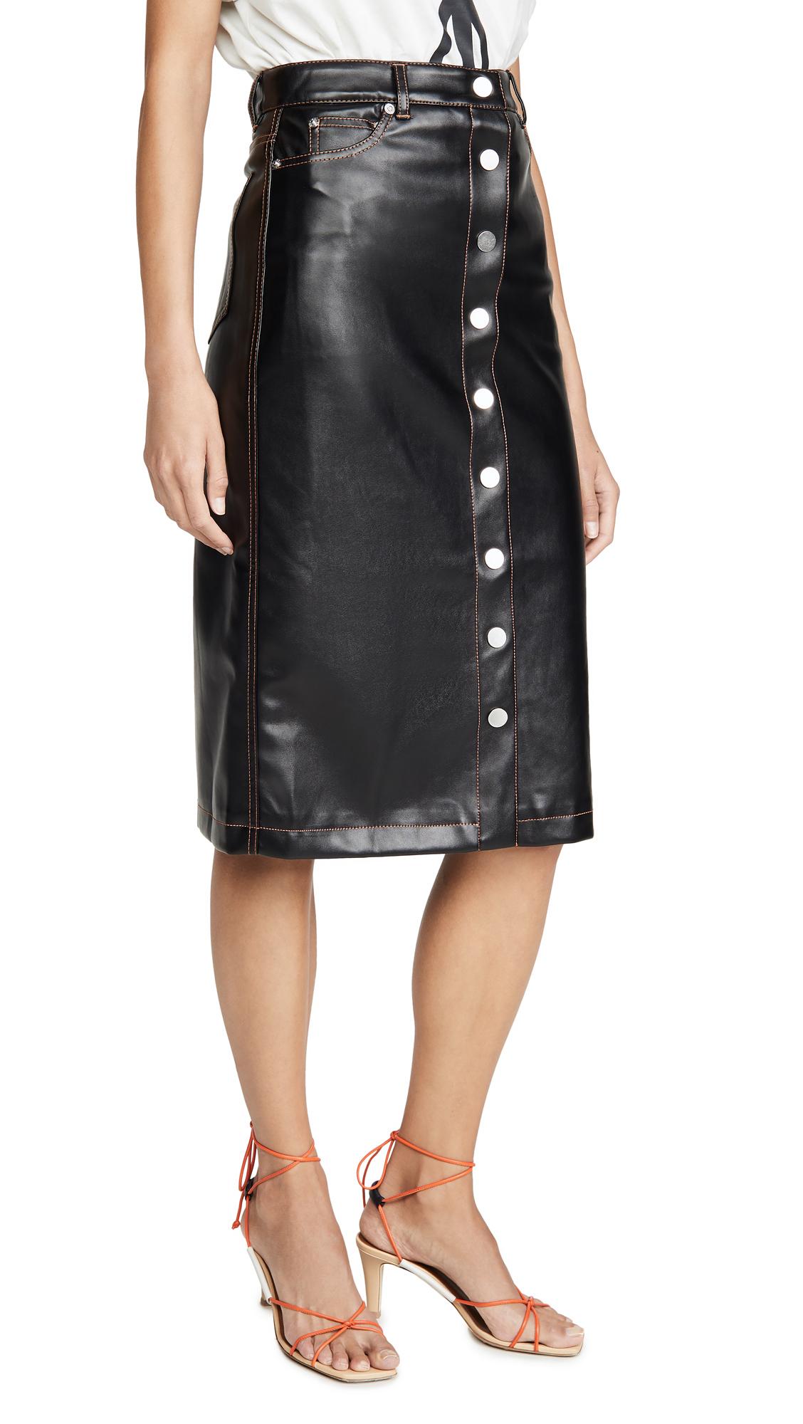 Buy Proenza Schouler White Label online - photo of Proenza Schouler White Label Faux Leather Button Front Midi Skirt