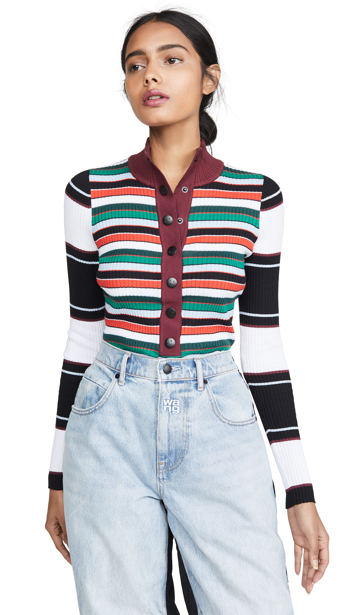 Buy Proenza Schouler White Label online - photo of Proenza Schouler White Label Rugby Striped Turtleneck Sweater