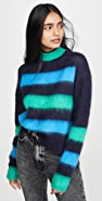 Proenza Schouler White Label Long Sleeve Brushed Stripe Sweater