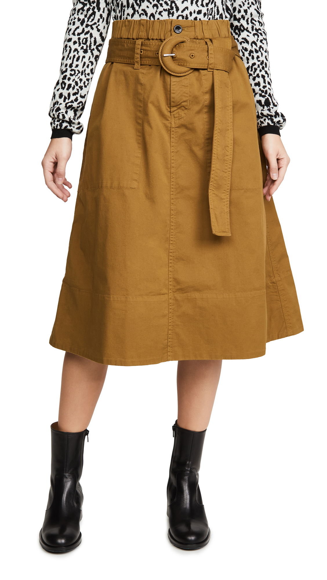 Buy Proenza Schouler White Label online - photo of Proenza Schouler White Label Cotton Belted Skirt
