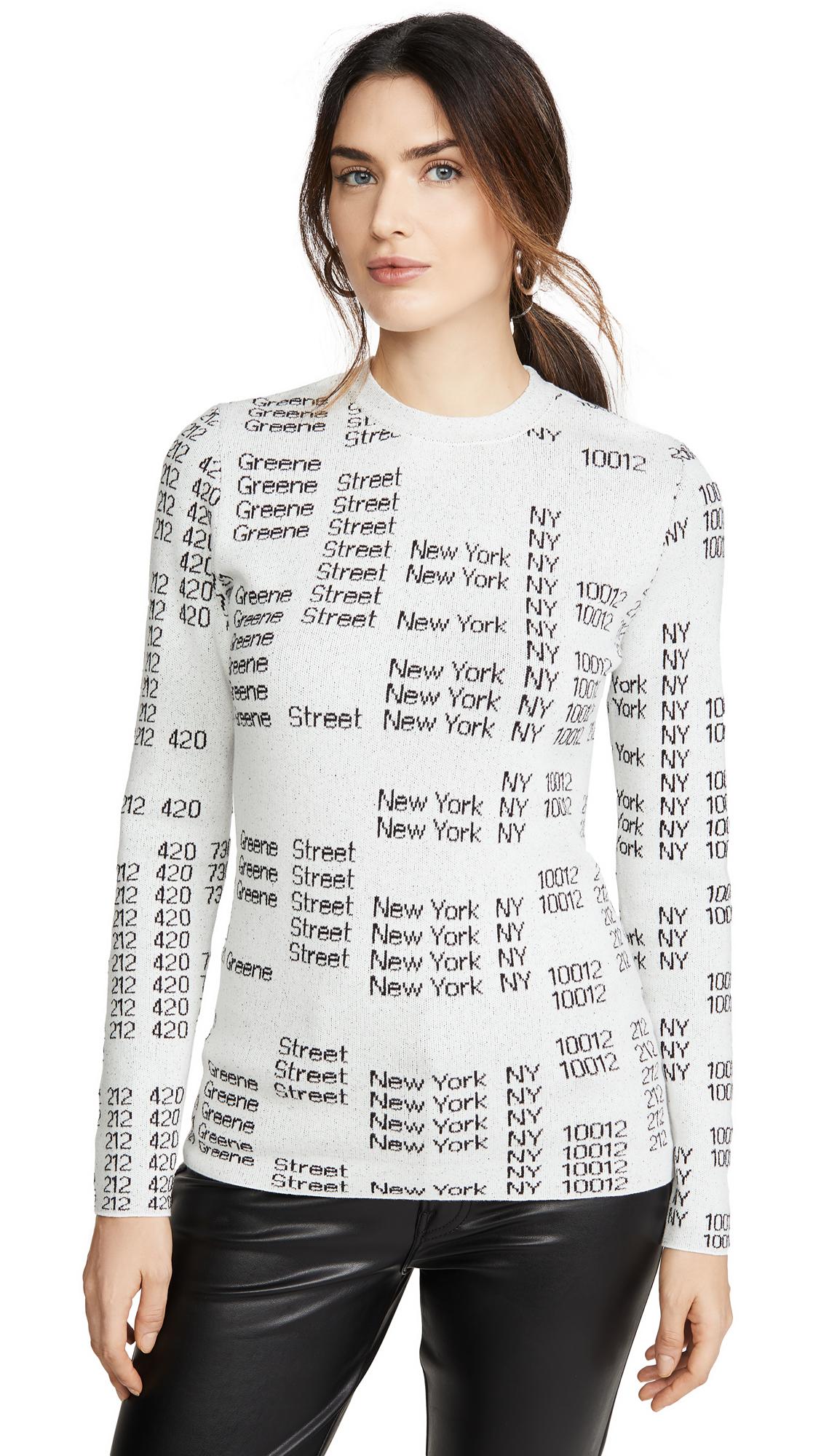 Buy Proenza Schouler White Label online - photo of Proenza Schouler White Label Text Jacquard Crew Neck Pullover