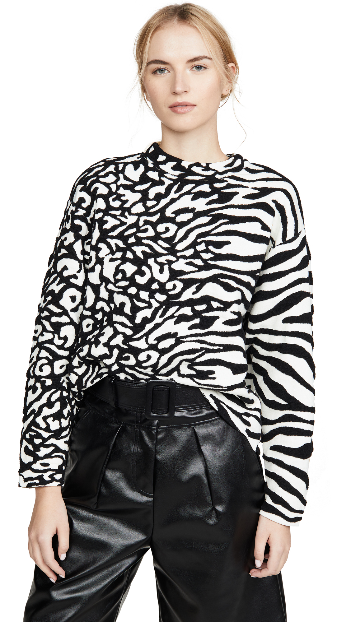 Buy Proenza Schouler White Label online - photo of Proenza Schouler White Label Animal Jacquard Cropped Pullover