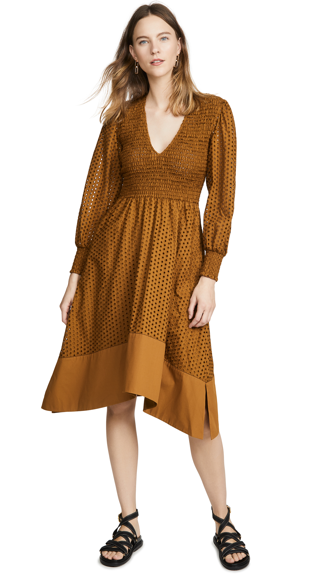Photo of Proenza Schouler White Label Long Sleeve Smocked Top Dress - shop Proenza Schouler White Label Clothing, Dresses online