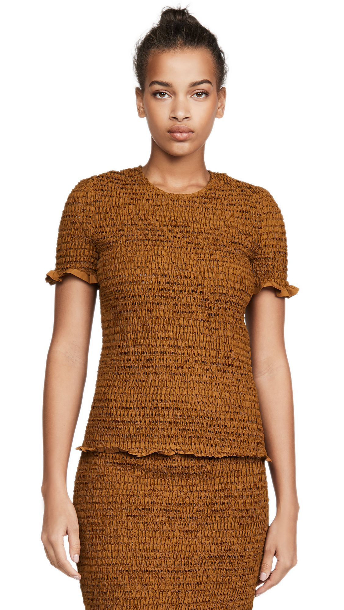 Proenza Schouler White Label Short Sleeve Smocked Top - 55% Off Sale