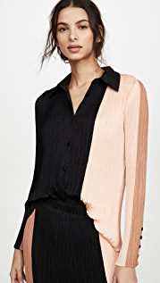 Proenza Schouler White Label Plisse Button Front Top